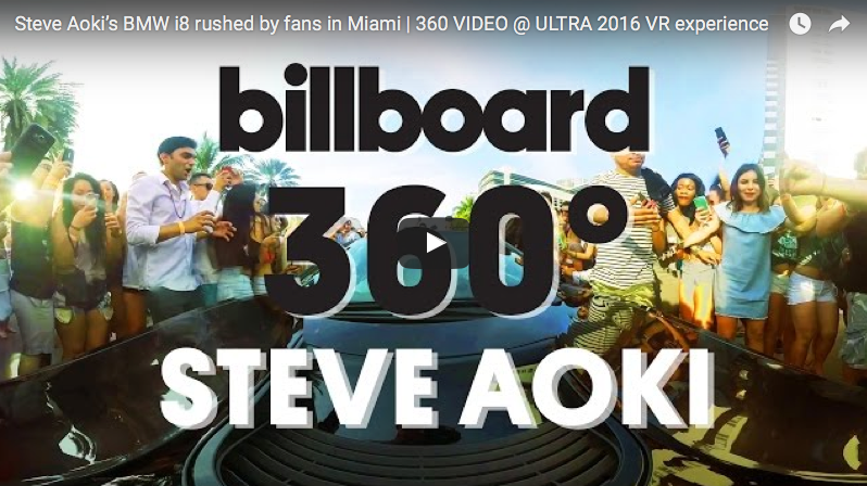 Steve Aoki's BMW i8 rushed by fans in Miami | 360 VIDEO @ ULTRA 2016 VR experience